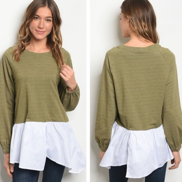 Annabelle Tops - Babydoll Silhouette Olive Green Colorblock  Blouse
